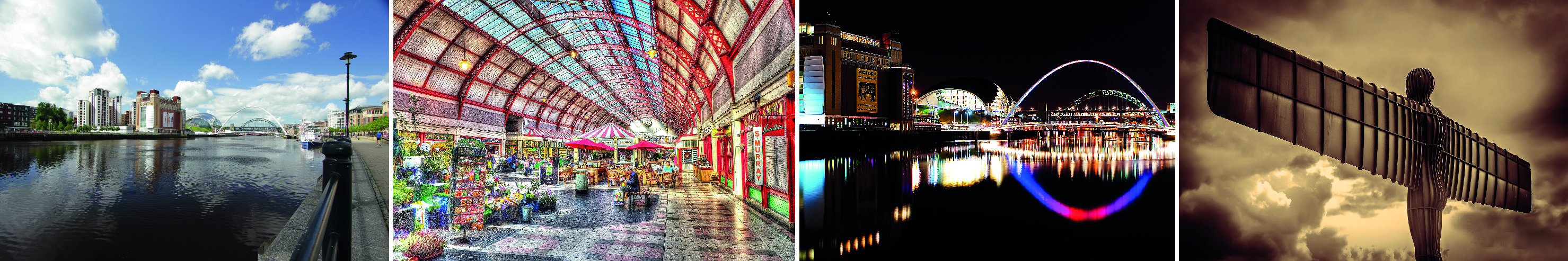 Images of the Tyne in summer, at night, Newcastle market and angel of the North