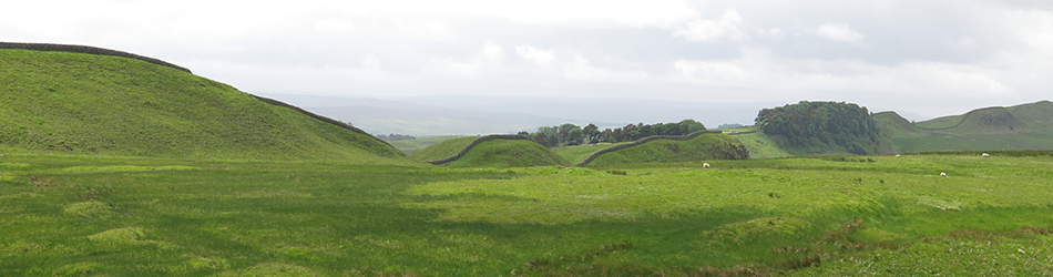 A photograph of Hadrian's Wall in the central sector east of Housesteads, viewed from the north so that the position of the Wall on the Whin Sill can be seen.